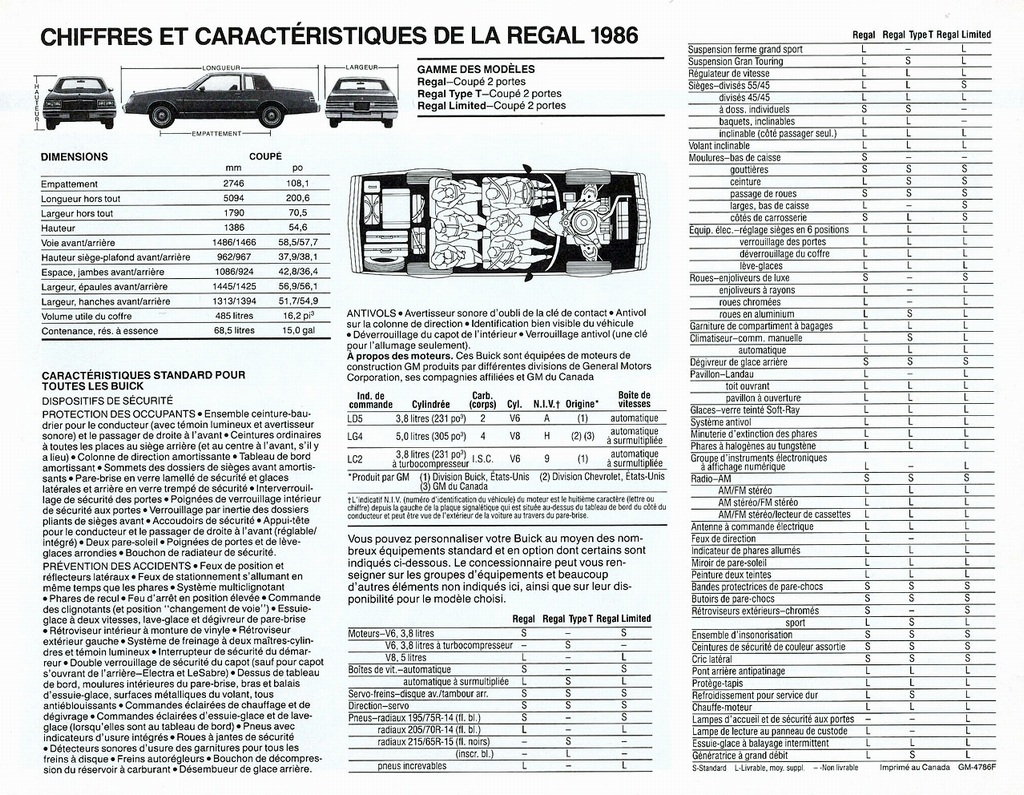 Largeur Espace 4 1986 Buick Regal Brochure Canada French