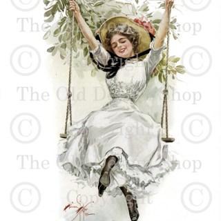 Harrison Fisher ~ Girl on Swing Image