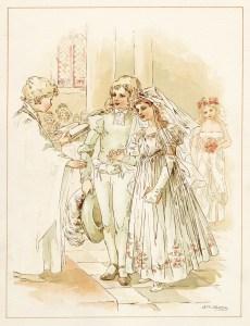 tom tucker bo peep wedding, vintage storybook wedding image, alice wheaton adams art, childrens story page