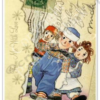 Raggedy Ann and Andy Altered Postcards
