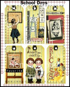 Vintage School Days Tags Sample