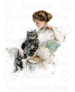 Harrison Fisher Girl with Cat