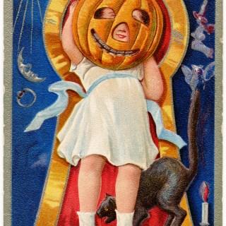 Halloween Girl with Pumpkin Face
