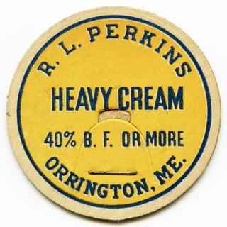 R. L. Perkins Milk Bottle Cap Dairy Cream