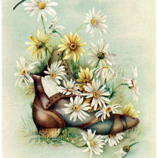 Bouquet of Daisies in Boot Vintage Card