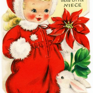 Girl in Red Retro Christmas Greeting Card