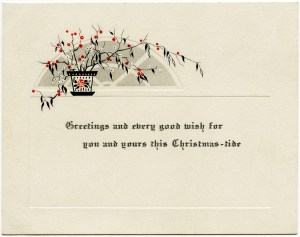vintage Christmas card, old fashioned greeting card, vintage plant clipart, red white black clip art