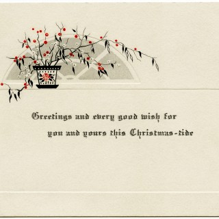 Red and Black Plant Vintage Christmas Card