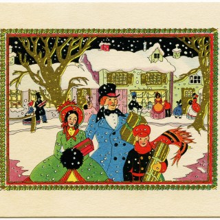 Art Deco Card Family Shopping for Christmas