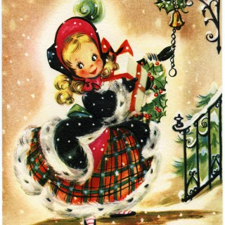 Girl with Gift Vintage Christmas Card