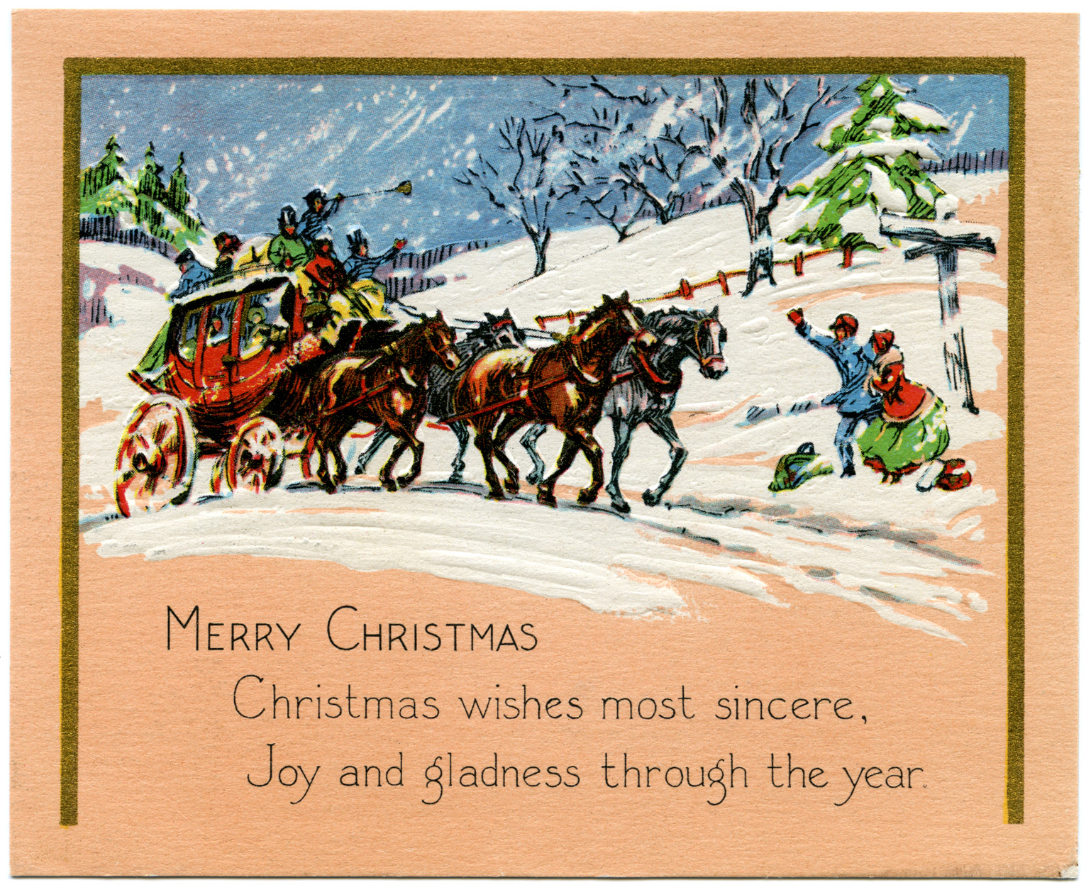Horse And Carriage Vintage Christmas Card Old Design