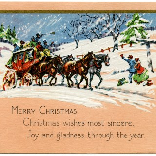 Horse and Carriage Vintage Christmas Card