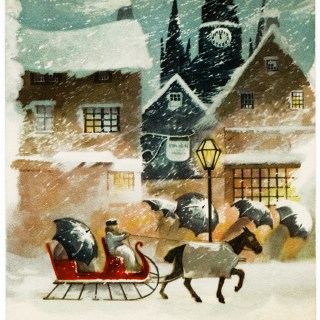 Stormy Winter Night Clapsaddle Christmas Card