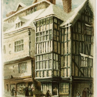 Old City Winter Scene Victorian Tuck Card