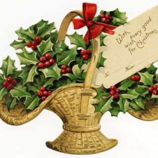 Basket of Holly Victorian Clip Art