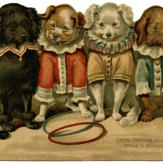 Circus Dogs Victorian Clip Art