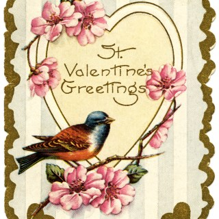 Bird and Flowers Vintage Valentine Card