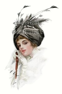 harrison fisher, tempting lips, old design shop, victorian lady