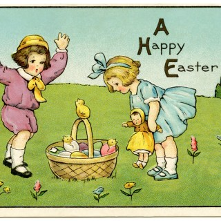 Children with Bunnies and Easter Basket