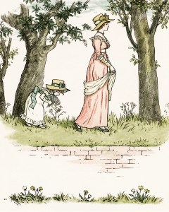 vintage storybook image, kate greenaway, marigold garden, girl picking daisies, victorian lady and girl clipart