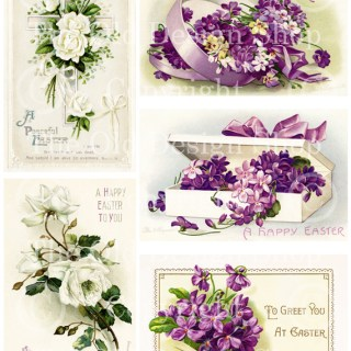 New Digital Collage Sheet ~ Vintage Easter Purple and White Florals