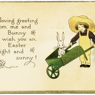 Boy and Bunny Vintage Easter Card