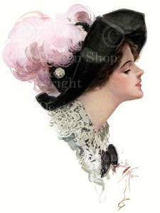 harrison fisher, fine feathers, victorian lady
