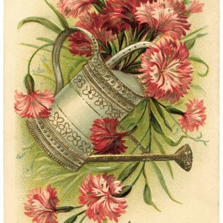Pail of Flowers Vintage Birthday Card