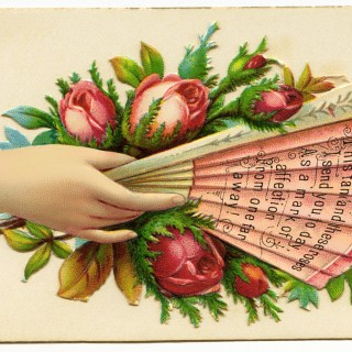Victorian Calling Card Pink Fan