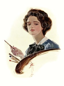 Harrison Fisher girl, art and beauty, american belles 1911, victorian lady painting, victorian female artist illustrated, old image woman painter, digital image commercial use, beautiful vintage woman
