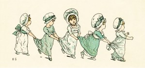 kate greenaway, under the window, circa 1880, vintage children running and playing, vintage illustration of girls in dresses and bonnets, ring the bells vintage poem, old book illustration, free printable, free digital graphics, free vintage clipart, free vintage image, old design shop