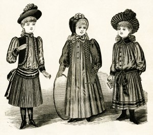 free vintage image, vintage styles for little folks, victorian girls fashion, childrens fashion 1889, free printable digital image, free vintage clipart, old magazine image children fashion, vintage digital graphic, royalty free public domain image