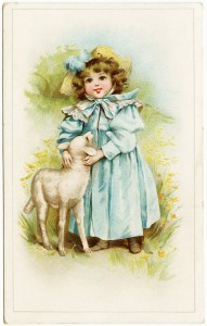 victorian trading card, little girl with lamb, mary had a little lamb, vintage ad card, vintage clipart, victorian girl, free digital vintage image