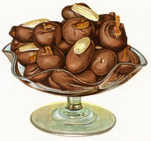 free vintage image, free printable, public domain food image, chocolate illustration, vintage chocolate image, free vintage clipart, graphics for digital design, images for scrapbooking, vintage food clipart, almond and cherry chocolates picture