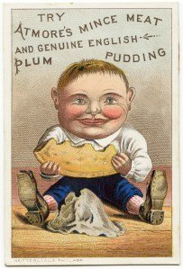 free vintage image, victorian trade card, antique advertising card, atmore's mince meat and english plum pudding, free printable, digital image for graphic design, atmore baby, free vintage ephemera, atmore ad card