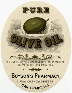 free vintage clipart, boyson's pharmacy label, antique pharmacy label, pure olive oil vintage sticker label