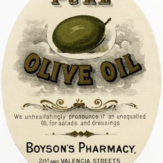 Boyson's Pharmacy Olive Oil Label