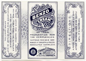 benzo cream, vintage clipart label, beauty label, blue and white label, old fashioned label, free printable label, royalty free antique label