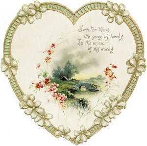free vintage image, victorian card, heart, flowers, vintage clipart heart, old fashioned card