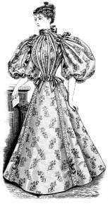 Free clipart Victorian lady, free vintage image Victorian fashion, Edwardian dress illustrated, vintage ladies fashion, antique ladies dress, vintage fashion illustration