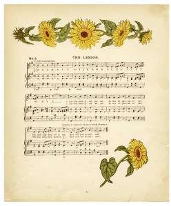 free digital image, vintage sheet music, kate greenaway illustration, antique storybook page, shabby digital graphic, old book page, sunflower clipart