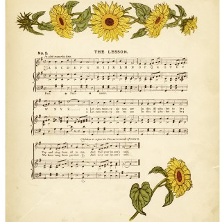 Vintage Sheet Music and Sunflowers
