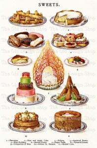 baking clip art, sweet desserts digital graphics, mrs beetons sweets, antique cookbook page