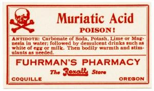 free vintage image, poison label, muriatic acid, fuhrman's pharmacy, red white poison label, antique label