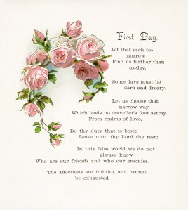free vintage image, free vintage clipart rose, pink roses, first day poem, roses and lilies longfellow, longfellow poetry, antique book page, digital image for graphic design, pink flowers illustration