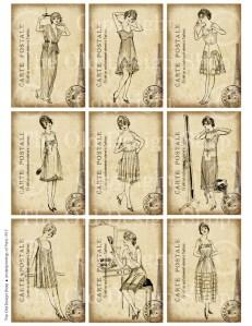 digital collage sheet, vintage french fashion, art journal card, digital atc, antique french ladies
