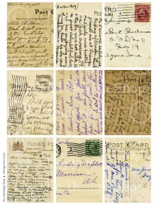 vintage postcards, atc aceo grunge background, digital collage sheet