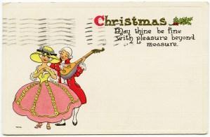 vintage christmas graphic, couple in love clipart, antique christmas postcard, free vintage image, victorian romance clip art