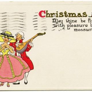 Free Vintage Image ~ Cute Couple Christmas Postcard