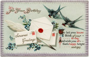 vintage birthday postcard, birds flowers clipart, antique birthday card, envelope quill pen graphics